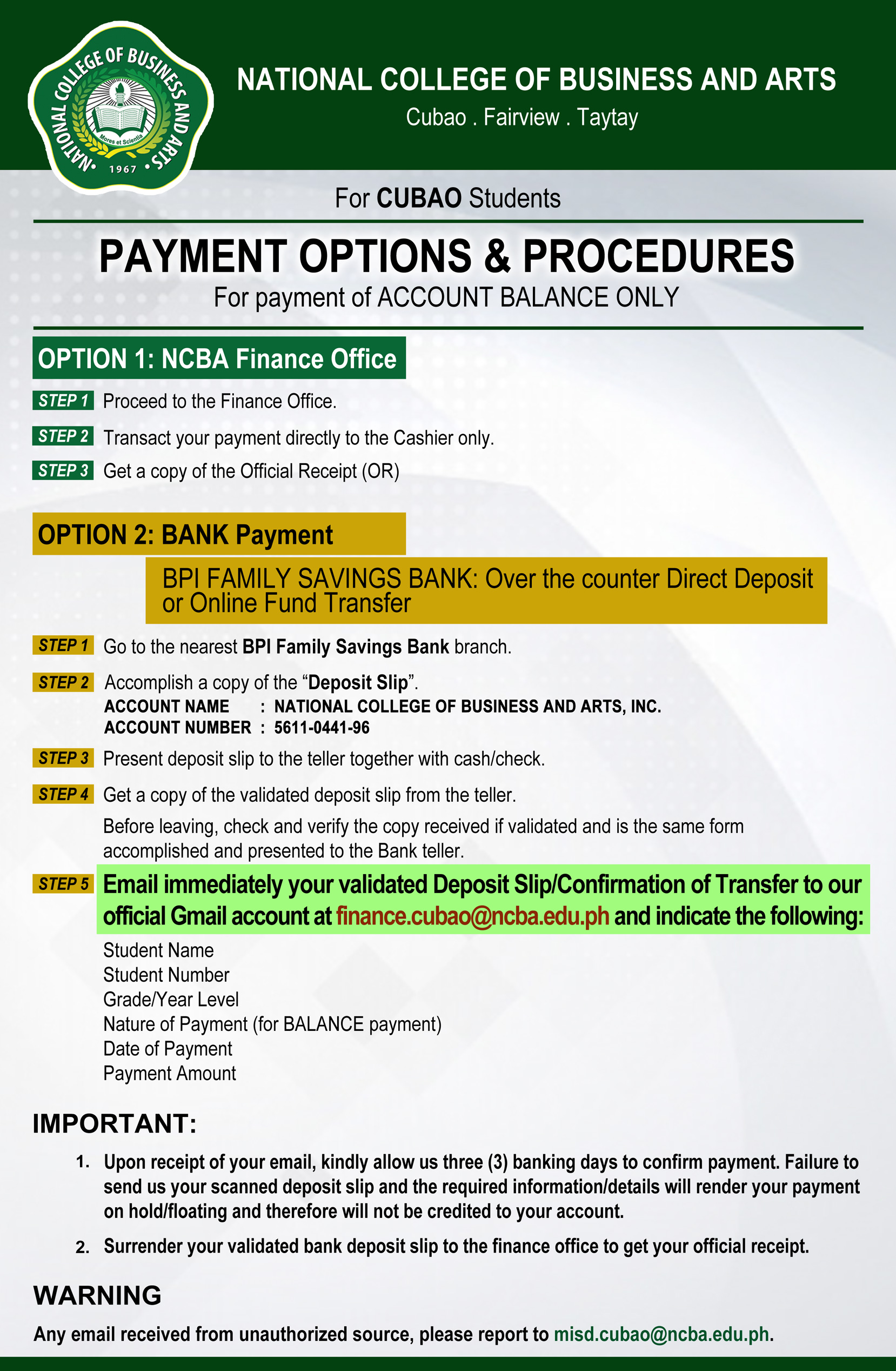 Payment Options for Account Balance - Cubao