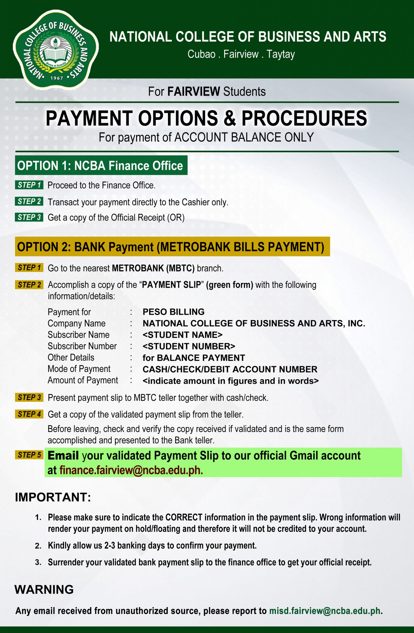 Payment Options for Account Balance - Fairview