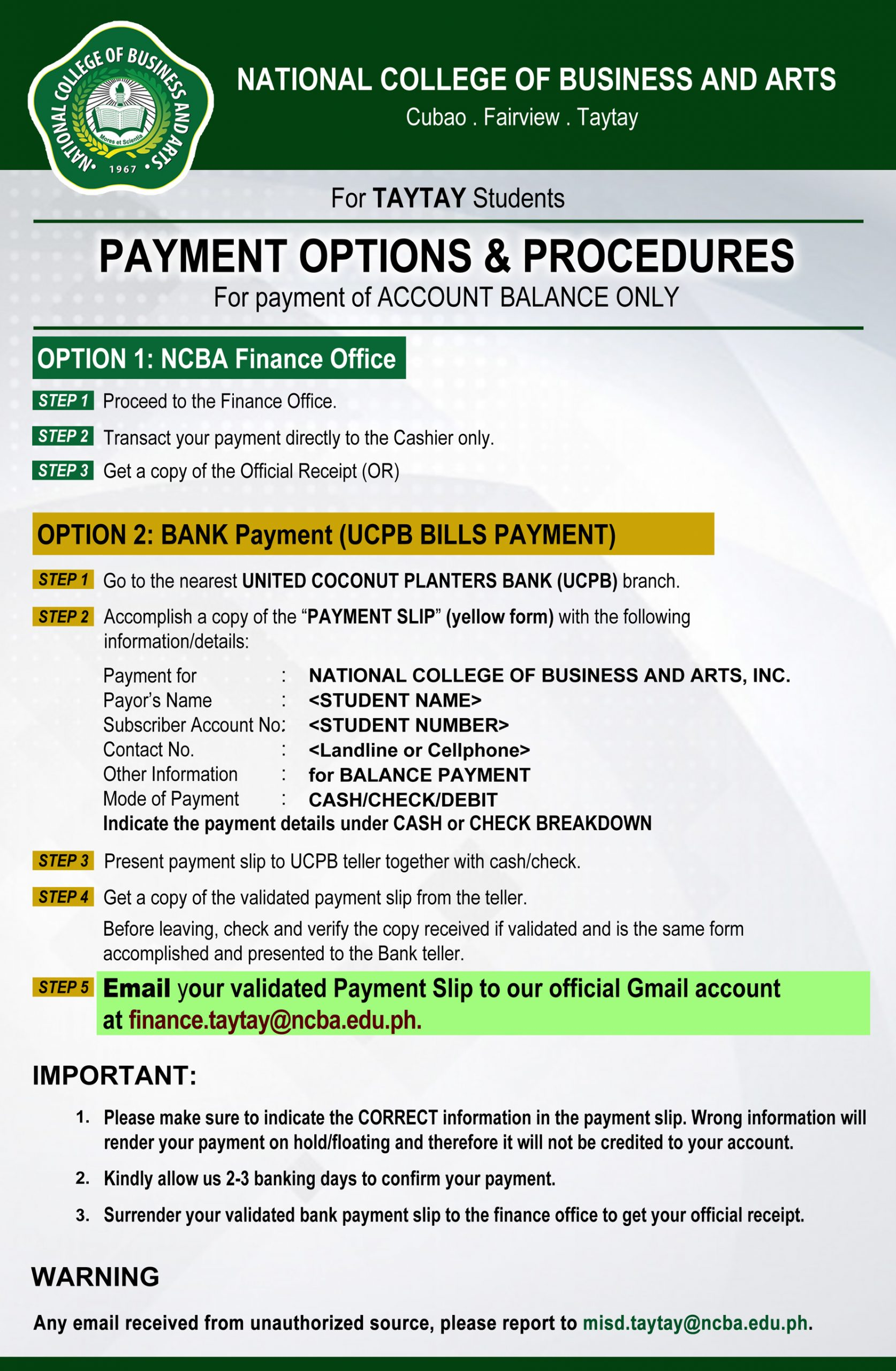 Payment Options for Account Balance - Taytay
