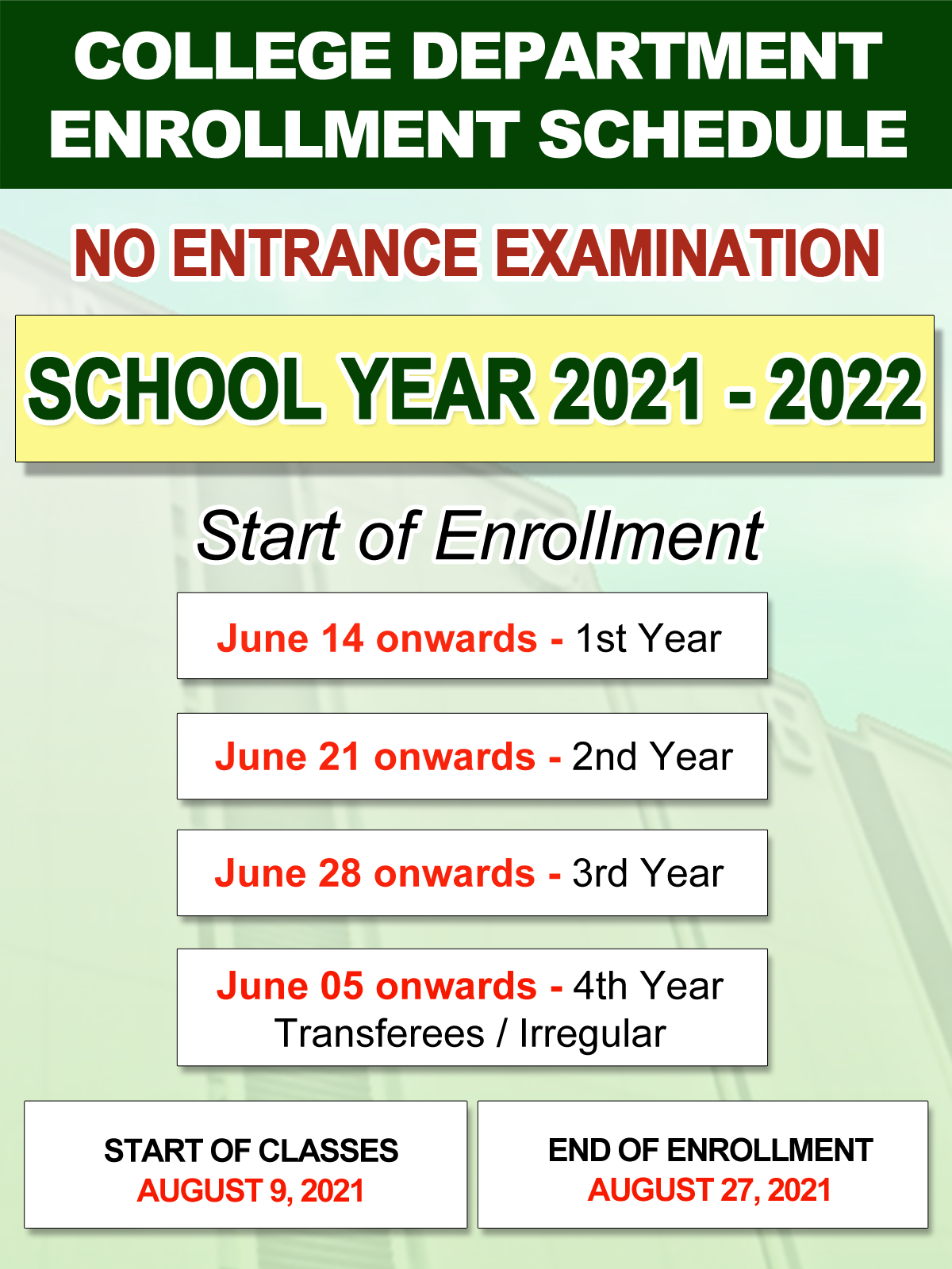 NCBA College Department Enrollment Schedules for SY 2021-2022