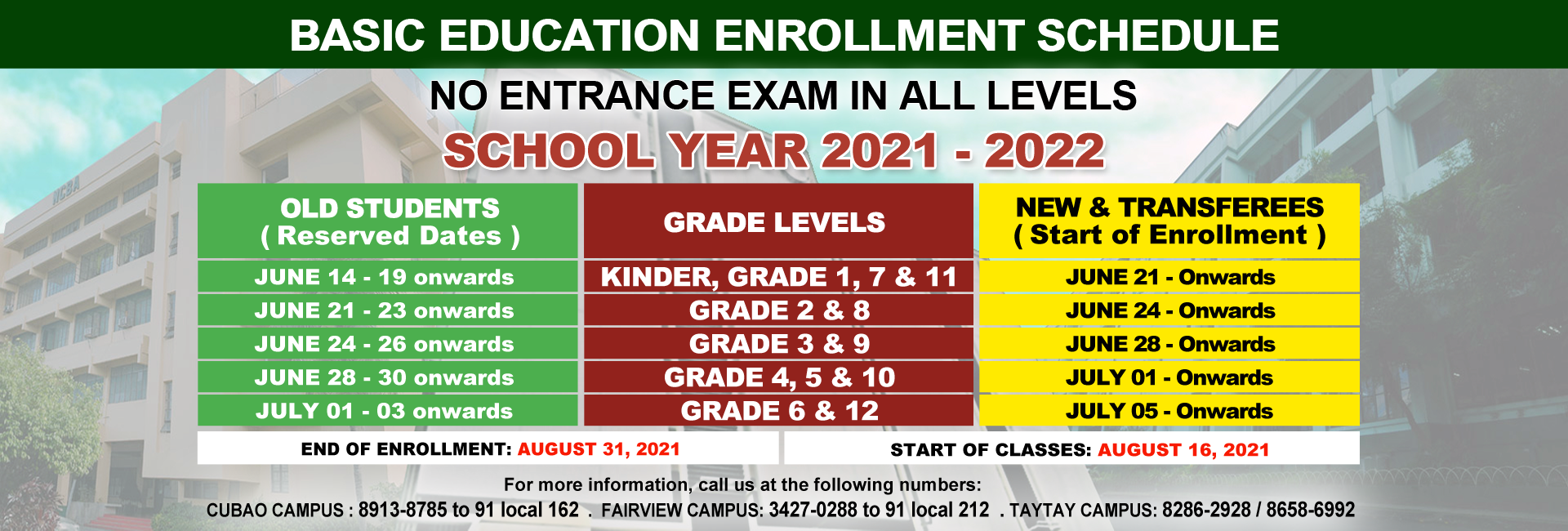 NCBA Basic Education Enrollment Schedules for SY 2021-2022