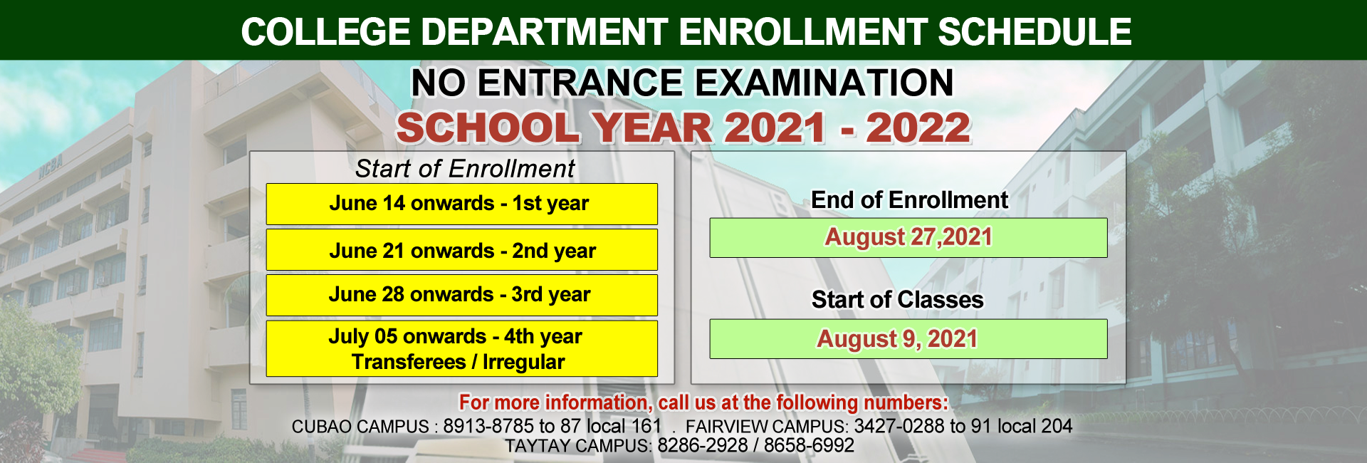 NCBA College Enrollment Schedules for SY 2021-2022