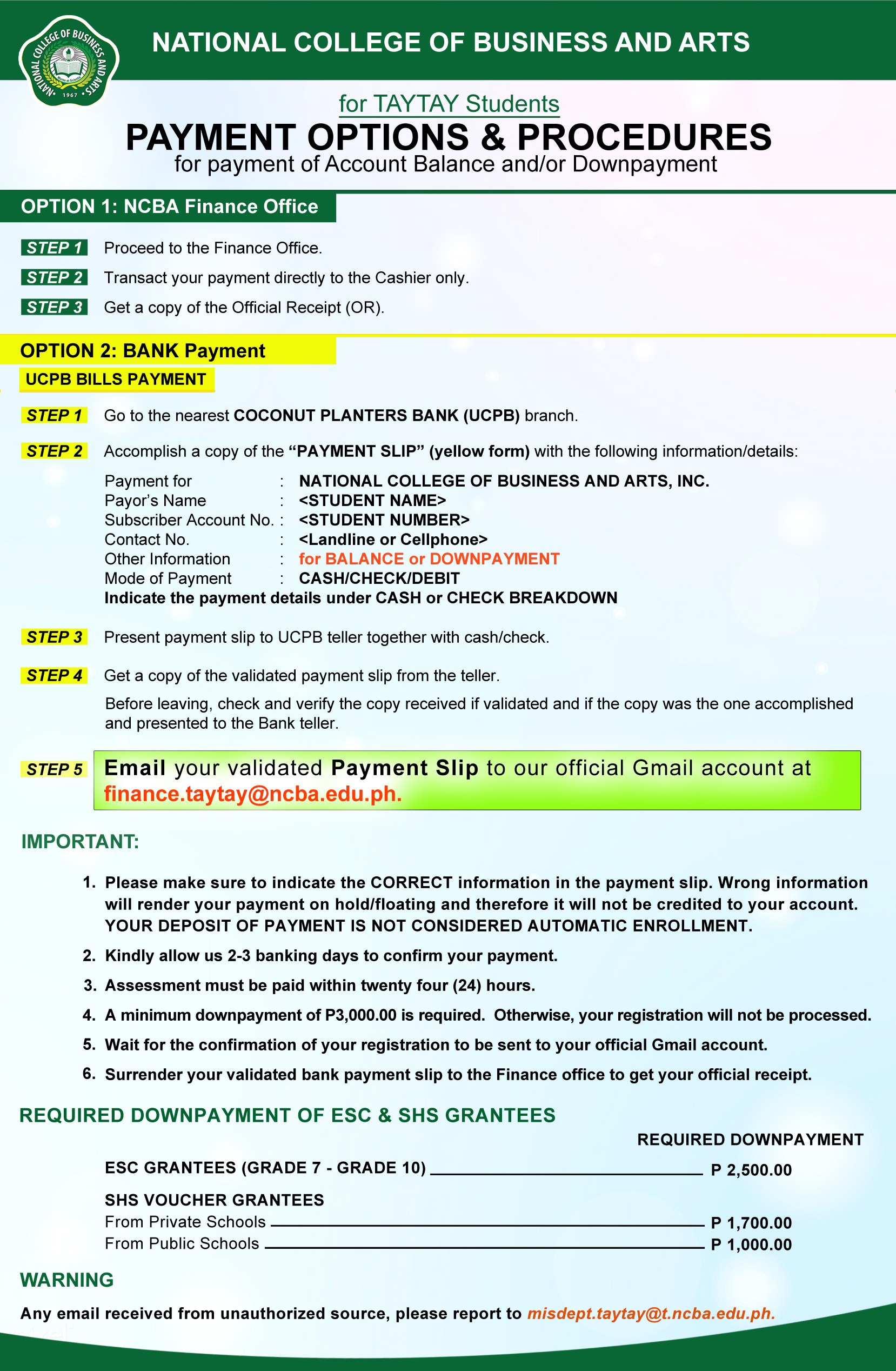 Payment Options - Taytay Campus