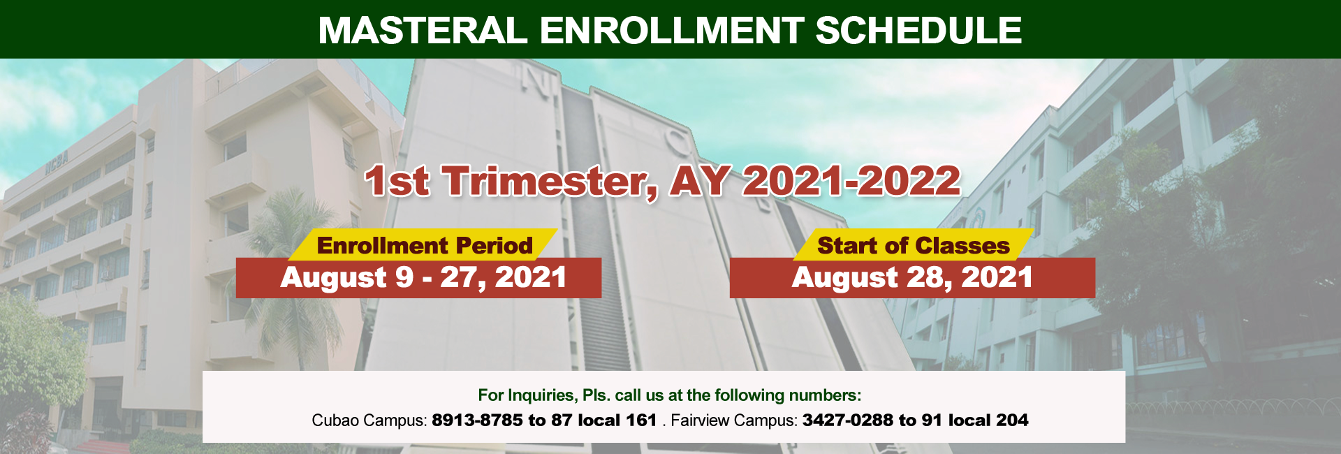 Masteral Enrollment Schedule (1st Trimester AY 2021-2022)