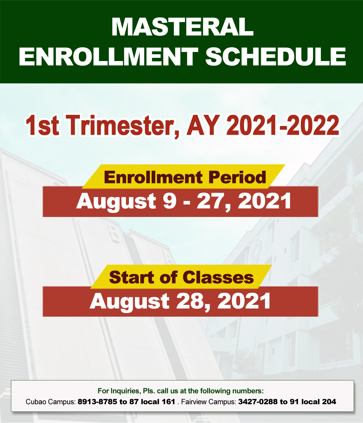 NCBA MASTERAL Enrollment Schedule 1st Trimester, AY 2021-2022